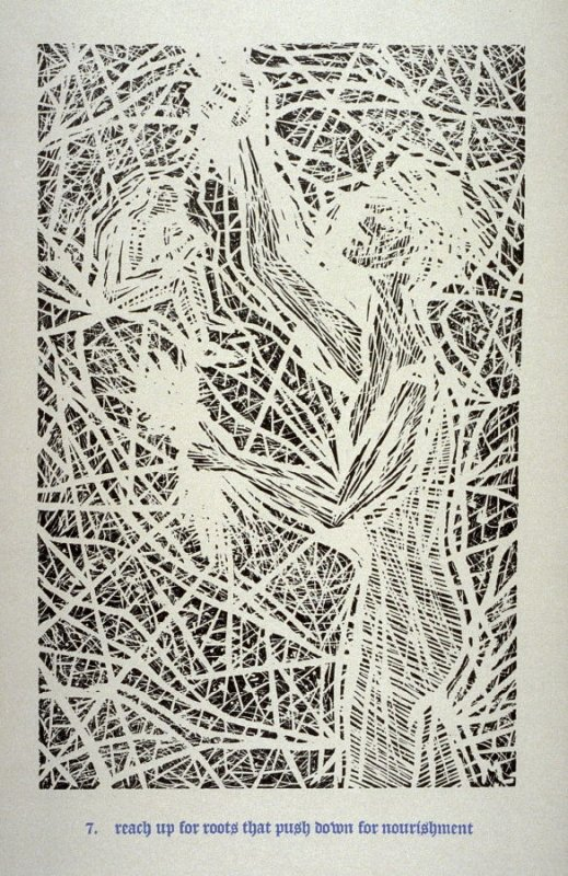 Reach Up for Roots that Push Down for Nourishment - Pl.7 from Back to the Cave, a Portfolio of Twelve Prints