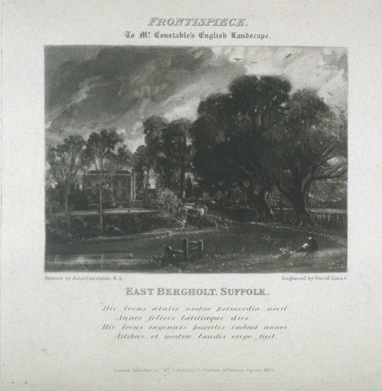 East Bergholt, Suffolk, frontispiece and first plate in the album, 'Various Subjects of Landscape, Characteristic of English Scenery' (London: John Constable, 1830-[1832])