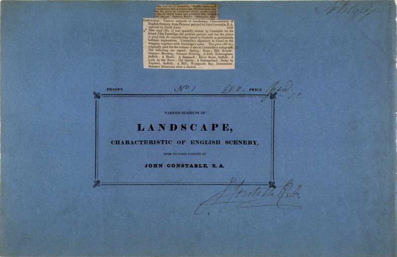 Paper cover of the album, Various Subjects of Landscape, Characteristic of English Scenery (London: John Constable, 1830-[1832]