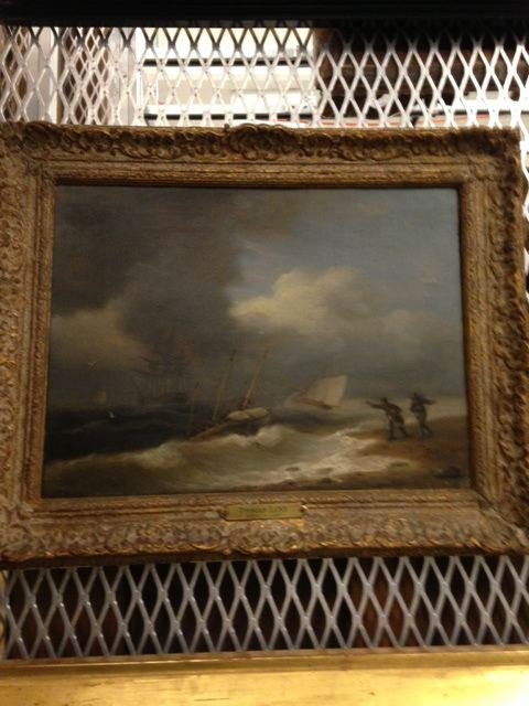 Untitled (Stormy Coast with Frigate and Two Small Sailing Vessels)