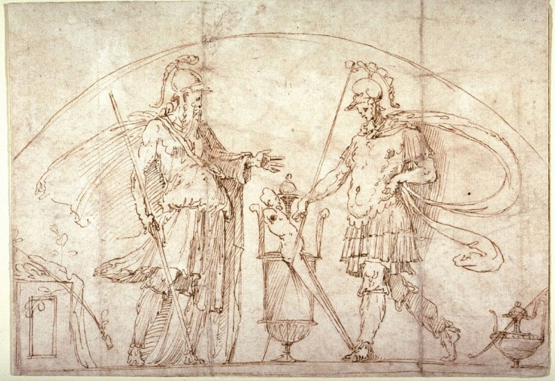 Two Warriors, possibly a design for a lunette in the library of the Castel Sant' Angelo, Rome