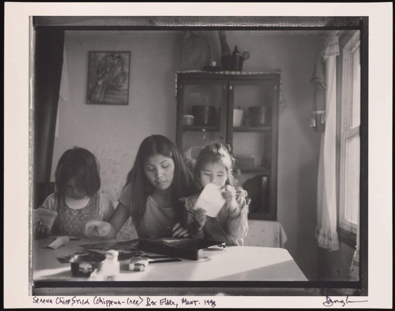 Serena Chief Stick (Chippewa-Cree), with her nieces, Box Elder, Montana