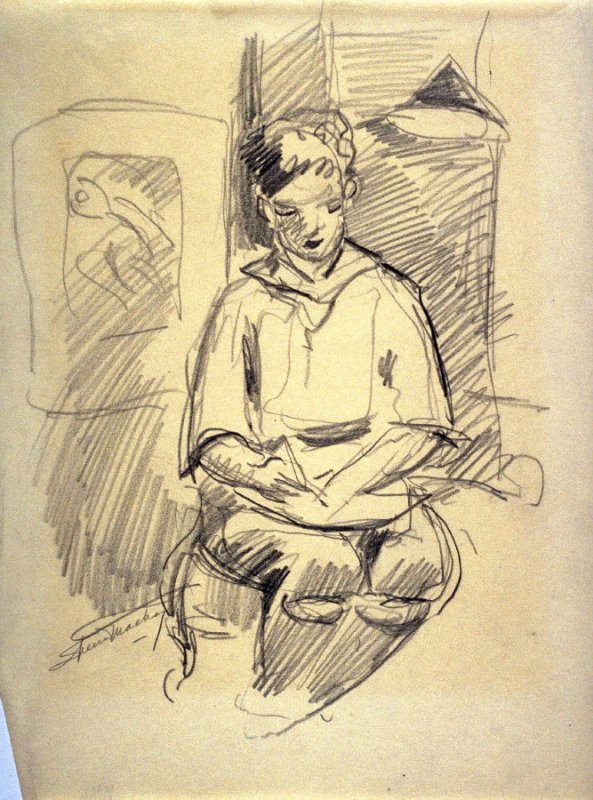 Study of a young boy drawing