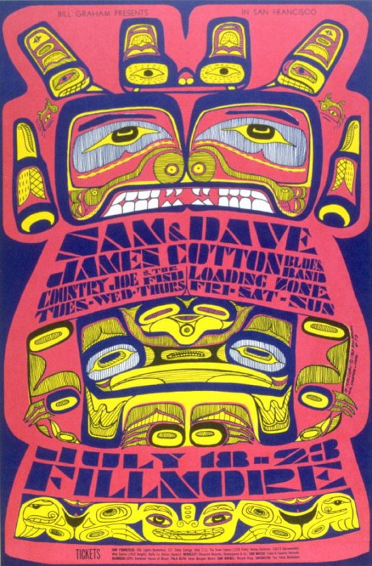 Sam and Dave, James Cotton Blues Band, Country Joe & the Fish, Loading Zone, July 18 - 23, Fillmore Auditorium