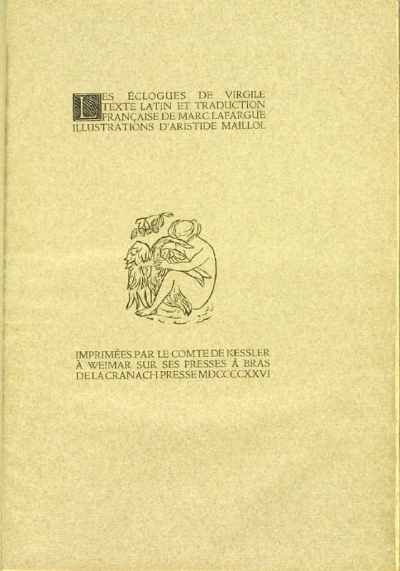 Cover (original), in the book Les Éclogues de Virgile by Virgil (translation by Marc Lafargue) (London: Ebery Walker Limited (for Cranach Presse, Weimar), 1926)