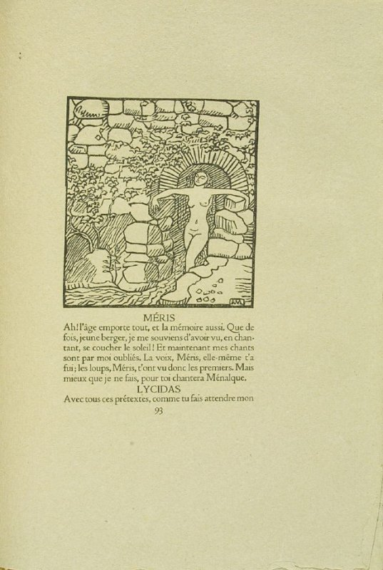 Untitled, pg. 93, in the book Les Éclogues de Virgile by Virgil (translation by Marc Lafargue) (London: Ebery Walker Limited (for Cranach Presse, Weimar), 1926)