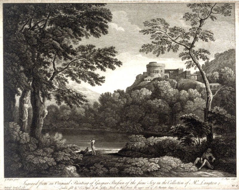 Landscape with man seated at base of tree, at right
