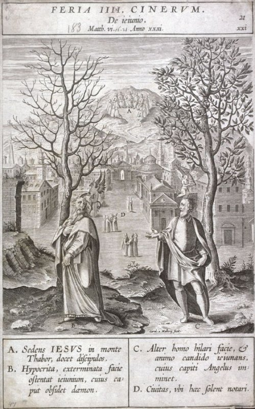The Sermon on the Mount: Warning Against Hypocricy, plate 21 from P. Jeronimo Nadal, Evangelicae Historiea Imagines (Antwerp, 1593)