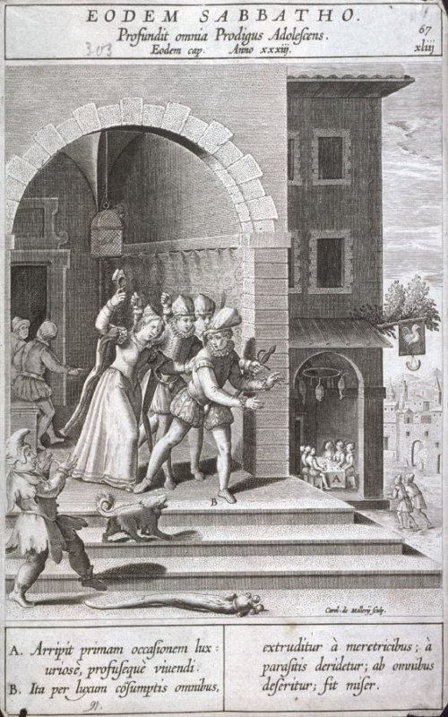 The Prodigal Son Squandering his Property, plate 67 from P. Jeronimo Nadal, Evangelicae Historiea Imagines (Antwerp, 1593)