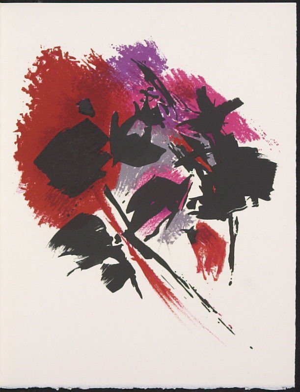 """""""La tache rouge"""" by Alfred Manessier, pg. 231, in the book Souvenirs et portraits d'artistes (Reminiscences and Portraits of Artists) by Fernand Mourlot (Paris: Alain c. Mazo, 1972 and in New York: Léon Amiel, 1972)."""