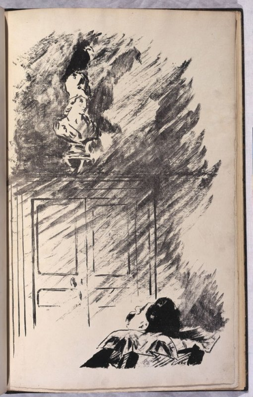 Raven on the Bust of Pallas, third plate in the book Le corbeau, translation by Stéphane Mallarmé of Edgar Allan Poe's poem The Raven (Paris, Richard Lesclide, 1875)