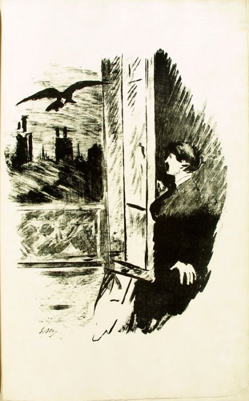 At the Window, second plate in the book Le corbeau, translation by Stéphane Mallarmé of Edgar Allan Poe's poem The Raven (Paris, Richard Lesclide, 1875)