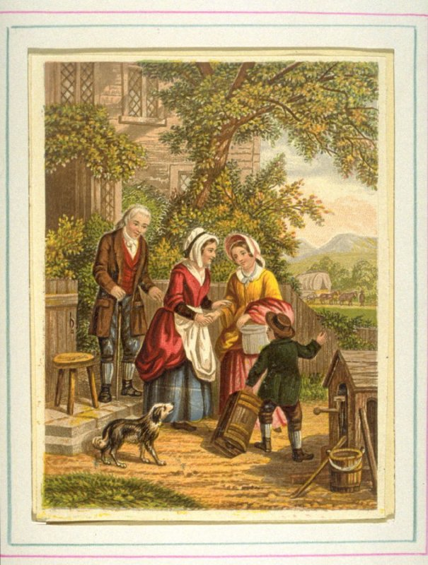 Man, two women, child and dog in garden