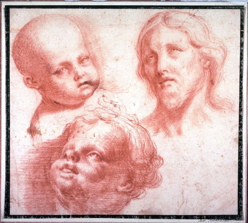 Studies of Heads (Head of Christ and Two Putti)