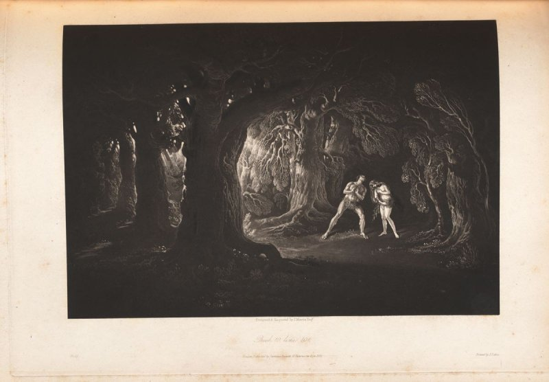 [Adam Hearing the Voice of the Almighty] Book 10, line 108, bound at p. 273 in the book, The Paradise Lost of John Milton (London: Charles Whittingham, 1846)