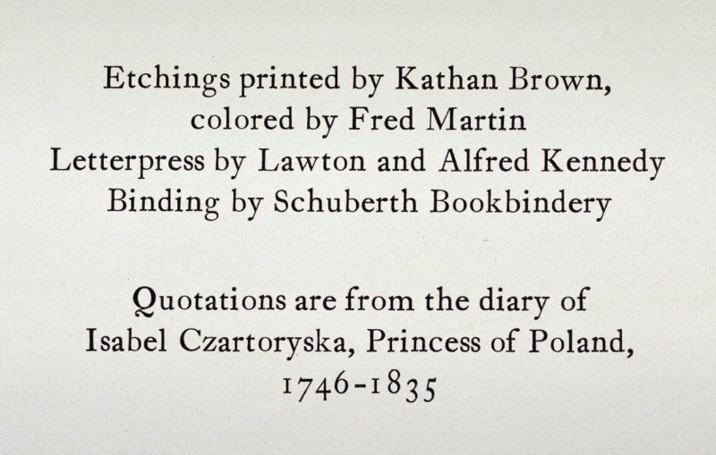 Colophon page from unbound set of the book Beulah Land: Fifteen etchings by Fred Martin (Berkeley: Crown Point Press, 1966)