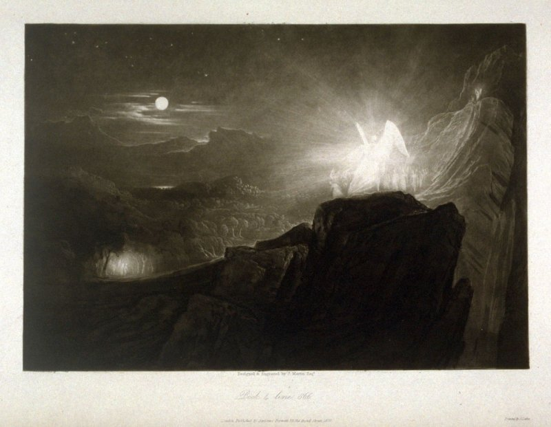 [The Angels Guarding Paradise at Night] Book 4 line 866, from the large plate series, The Paradise Lost of Milton with Illustrations by John Martin (London: Septimus Prowett, 1827)
