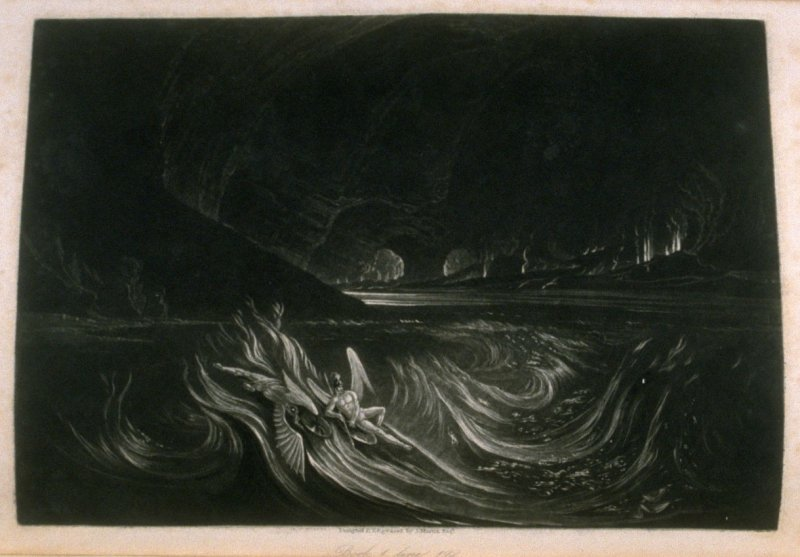 [Satan on the Burning Lake], Book 1 line 192, bound at p. 7 in the book, The Paradise Lost of Milton (London: Charles Tilt, 1838)