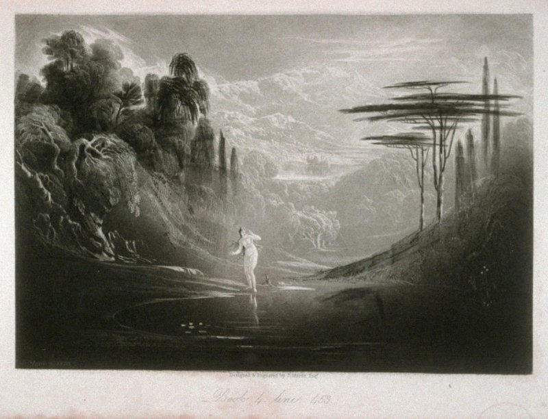 [Eve at the Fountain], Book 4 line 453, bound opposite p.108 in the book, The Paradise Lost of Milton (London: Charles Tilt, 1838)