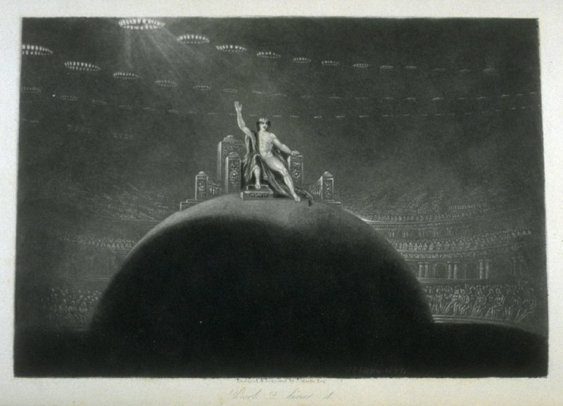 [Satan Presiding at the Infernal Council], Book 2 line 1, bound at p. 29 in the book, The Paradise Lost of Milton (London: Charles Tilt, 1838)