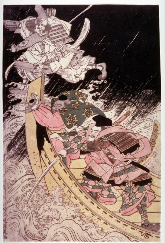 The Ghost of Tomomori Attacking Yoshitsune's Ship at Daimotsu Bay