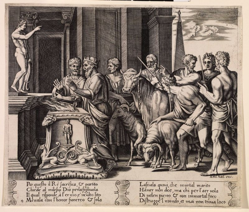 Per questo il Ré sacrifica, & partito . . . (Psyche's Father Consulting the Oracle), pl. 4, from the Series: The History of Psyche