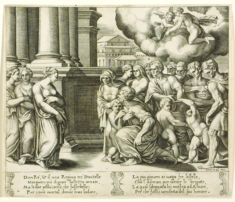 Dun Ré, & d'una Regina tré Donzelle . . . (The People Rendering Divine Honors to Psyche), pl. 2, from the Series: The History of Psyche