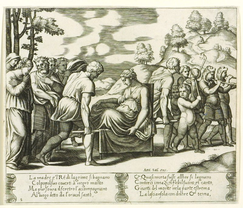 La madre, e'l Ré di lagrime si bagnano . . . (Psyche Taken to a Deserted Mountain) , pl. 5, from the Series: The History of Psyche