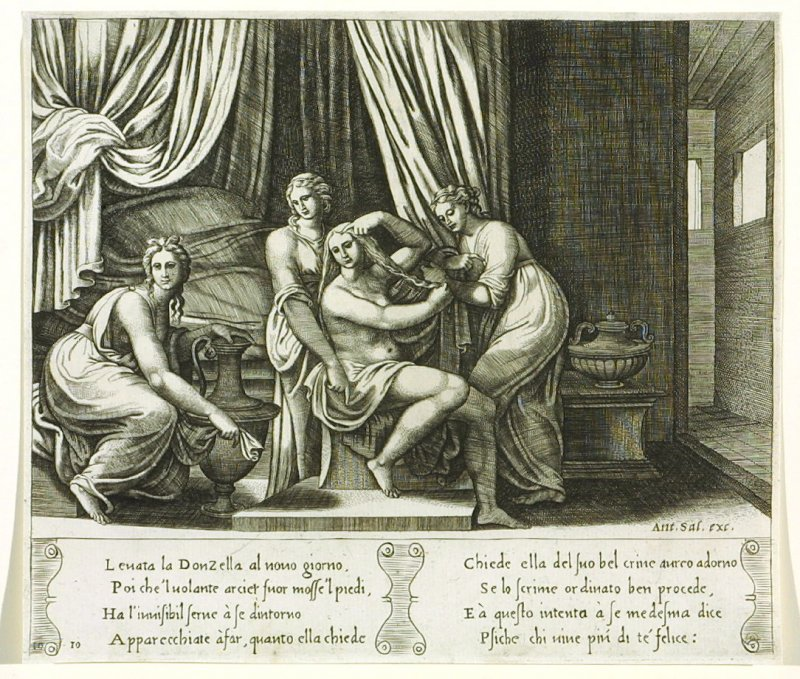 Leuata la Donzella al nouo giorno, . . . (Nymphs Helping Psyche With Her Toilet), pl. 10, from the Series: The History of Psyche