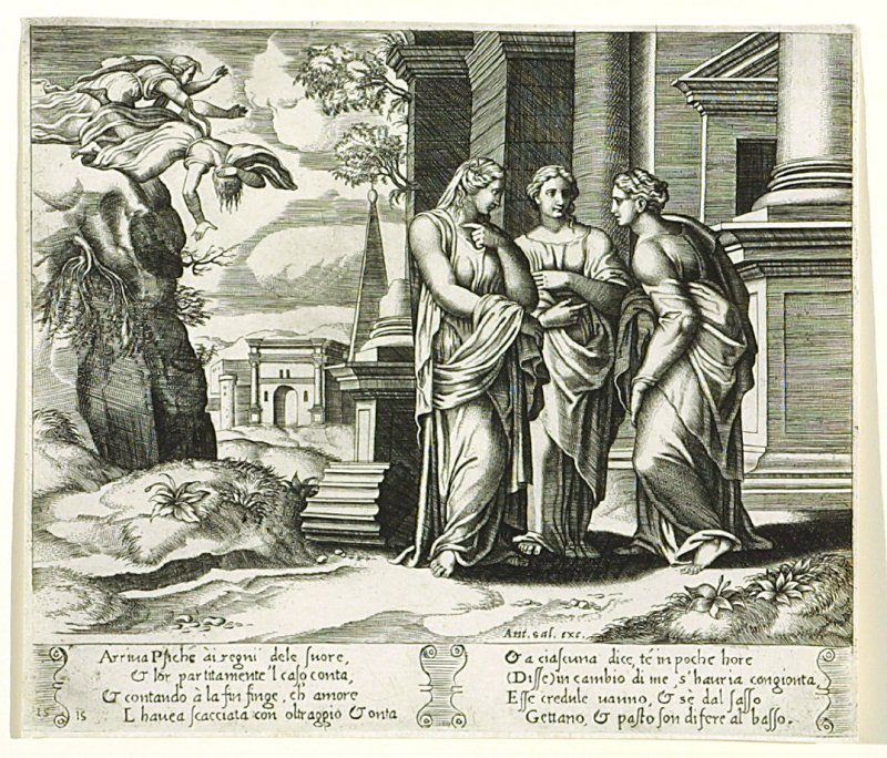 Arriua Psiche ài regni dele suore,. . . (Psyche Telling Her Misfortune to her Sisters) , pl. 15, from the Series: The History of Psyche