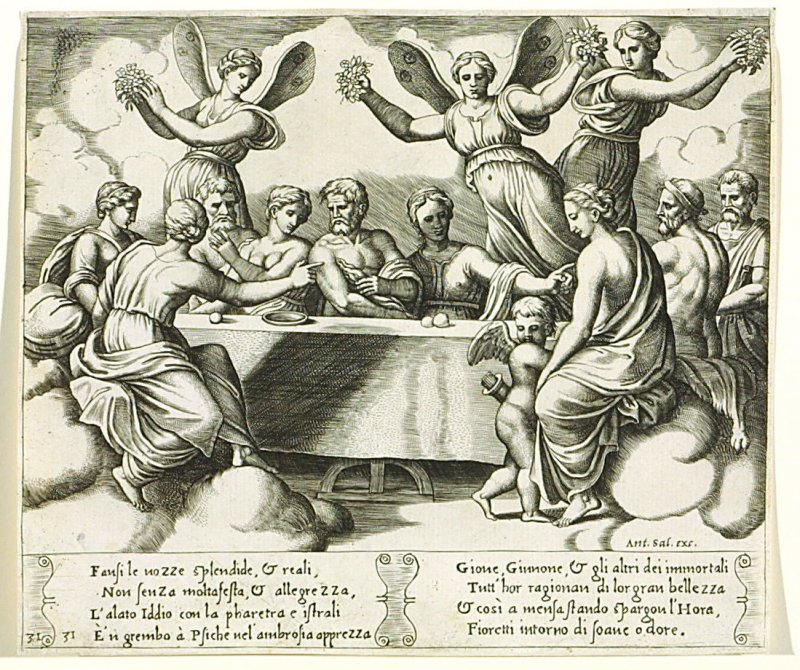 Fansi le uozze splendide, & reali, . . . (The Gods Celebrating the Wedding of Psyche and Cupid) , pl. 31, from the Series: The History of Psyche