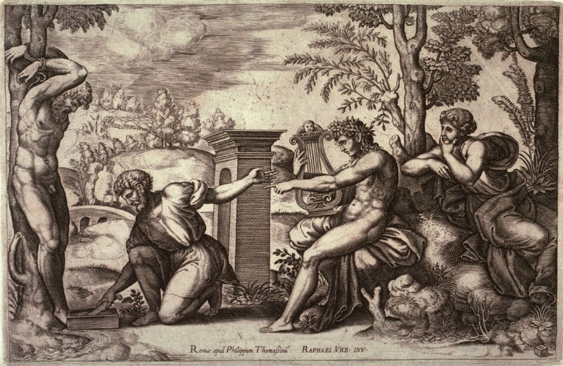 Apollo and Marsyas, after Raphael