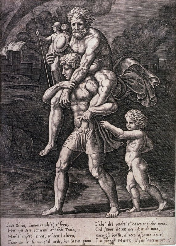 Aneas Saving Anchises, after the fresco in the Sala di Incendio