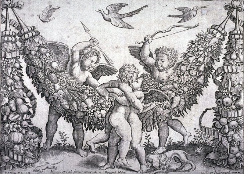 Two Putti Striking Another Who is Squeezing A Child, after designs for the papal tapestries