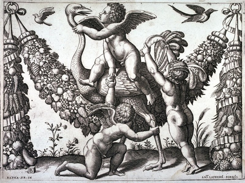 Three Putti Playing With an Ostrich, from a tapestry design by Raphael (or Giovanni da Udine)