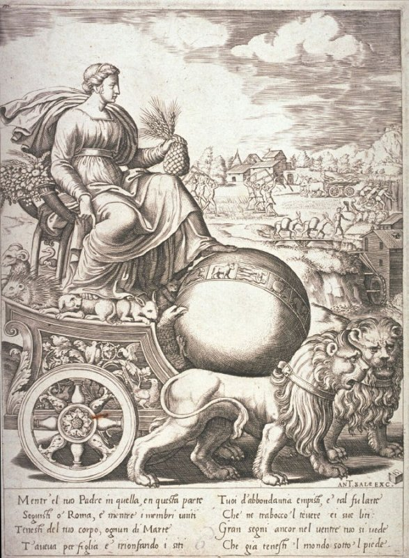 Cybele in Her Chariot, after Baldassare Peruzzi