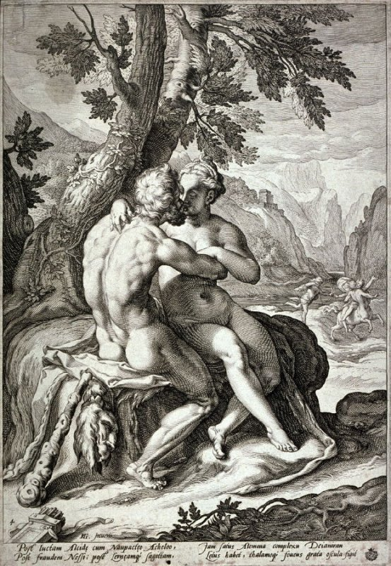 Hercules and Dejanira, from a series of the Loves of the Gods