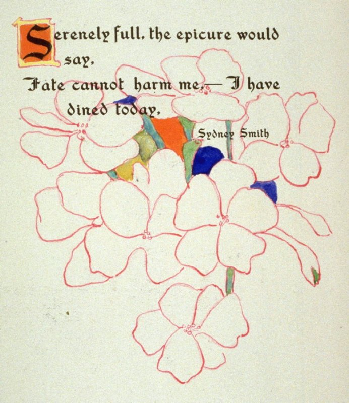 Serenely full, the epicure would say,...,..., page preceding issue no. 3 in the book, Philopolis, A Monthly Magazine for Those Who Care (San Francisco: 1908), vol. 3
