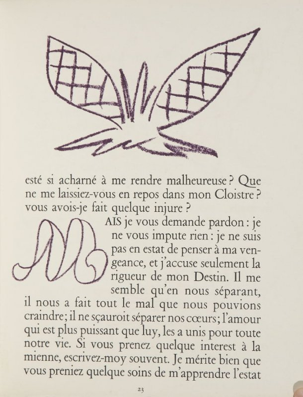 Untitled, ornament/letter, pg. 23, in the book Lettres (Lettres Portugaises) by Marianna Alcaforado (Paris: Tériade Éditeur, 1946)