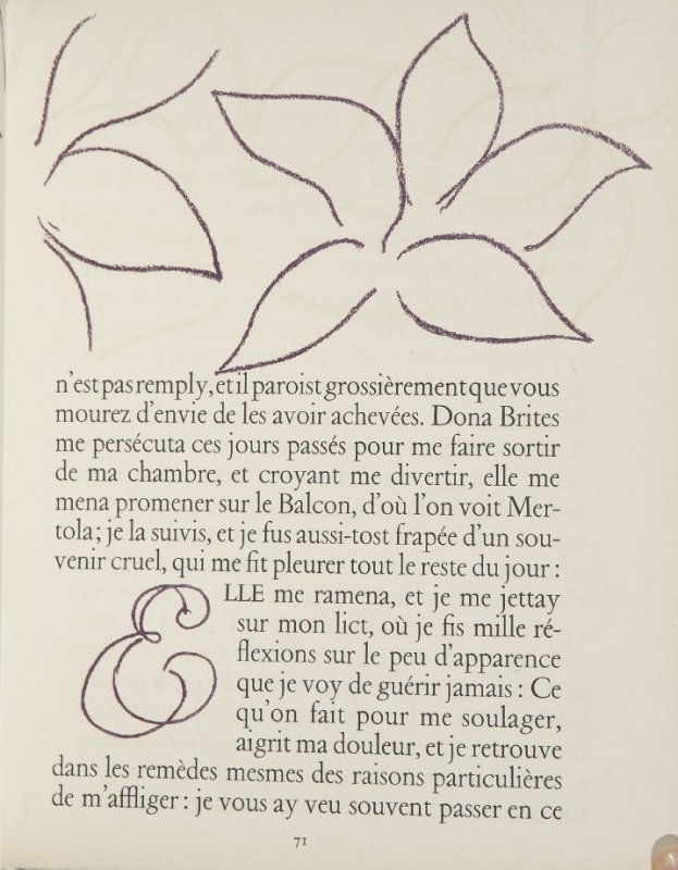 Untitled, ornament/letter, pg. 71, in the book Lettres (Lettres Portugaises) by Marianna Alcaforado (Paris: Tériade Éditeur, 1946)