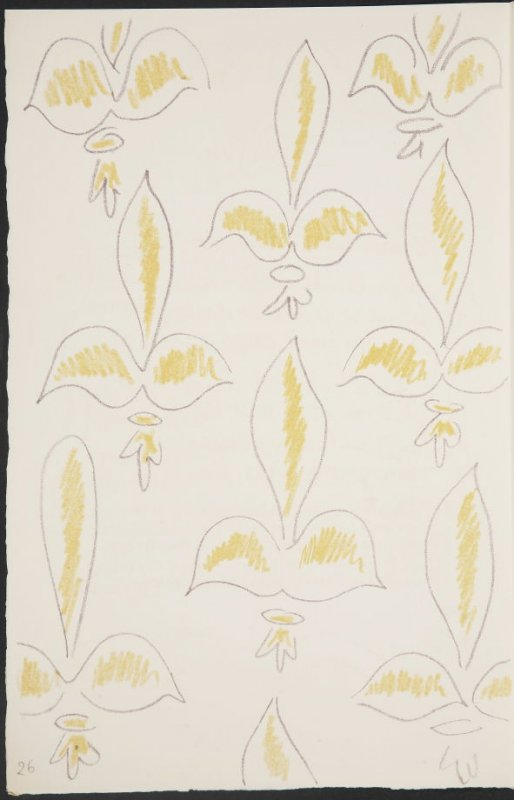 Untitled (fleur de lys variation)on page26, second image of four on seventh folded sheet in the unbound book Poèmes de Charles d'Orléans (Paris: Tériade éditeur, 1950)