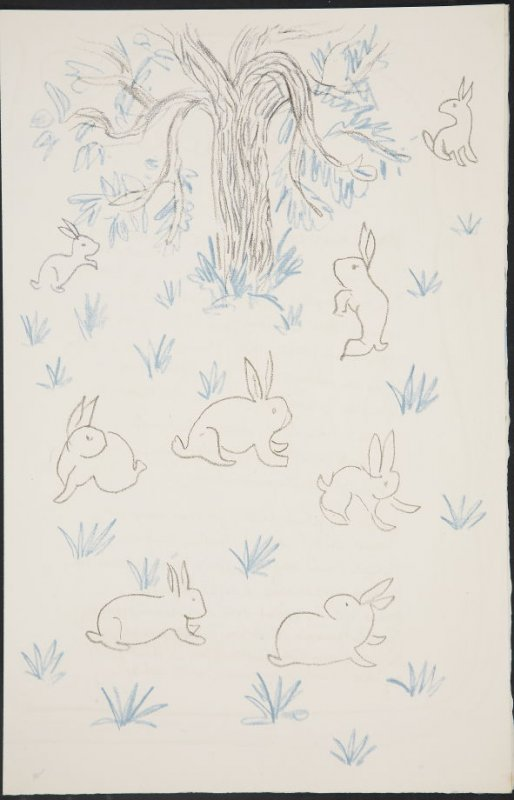 Untitled (rabbits, tree, and grass) on unnumbered page 49, first image of four on thirteenth folded sheet in the unbound book Poèmes de Charles d'Orléans (Paris: Tériade éditeur, 1950)