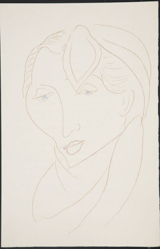 Untitled (woman's head) on unnumbered page 97, first image of four on twenty-fifth folded sheet in the unbound book Poèmes de Charles d'Orléans (Paris: Tériade éditeur, 1950)