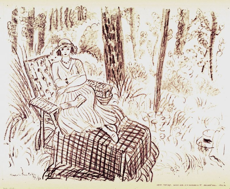 Jeune fille à la chaise-longue dans un sous-bois (Young girl on a chaise lounge under the trees)