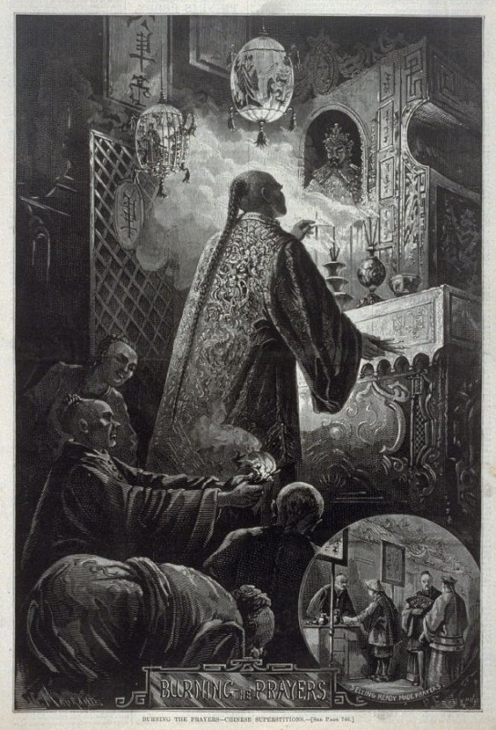 Burning the Prayers - Chinese Superstitions - p.745 from Harper's Weekly (23 August 1873)