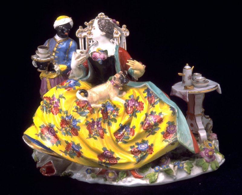 Lady with blackamoor and small table