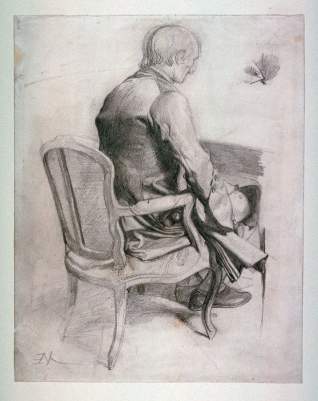 A Seated Man, rear view