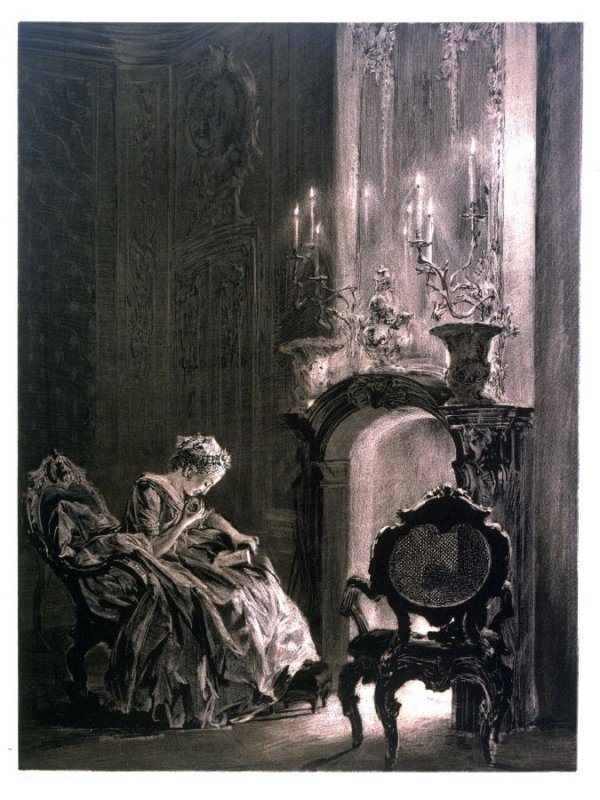 Lady Reading at the Fireplace