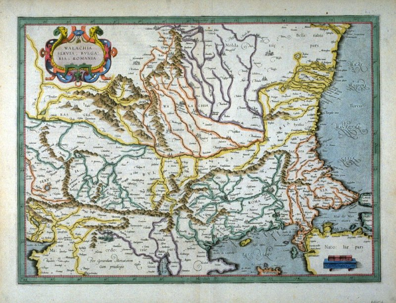 Map of Walachia, Serbia, Bulgaria,and Romania