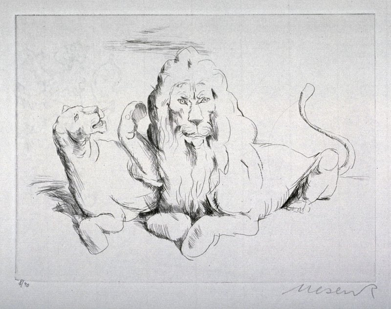 One of 12 Etchings of Animals: [Lions]